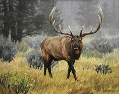 Wildlife Paintings, Wildlife Art, Animal Paintings, Elk Pictures, Hunting Pictures, Bizarre Animals, Hunting Tattoos, Bull Elk, Deer Family