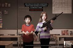 One child is holding something that's been banned in America to protect them - Guess which one. We won't sell Kinder chocolate eggs in the interest of child safety. Why not assault weapons? - Moms Demand Action for Gun Sense in America Creative Advertising, Advertising Agency, Print Advertising, Gun Control, Faith In Humanity, Child Safety, Social Issues, Red Riding Hood, Print Ads