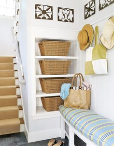Basket shelves, cubbies for shoes, bench, hooks for mudroom. EASY.