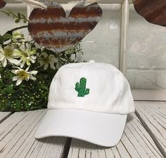 New Cactus Embroidery Baseball Cap White Low by PrfctoLifestyle Cactus Embroidery, Hat Embroidery, Vintage Embroidery, Embroidery Patches, Cute Caps, Embroidered Baseball Caps, Embroidered Hats, Dad Caps, Hat Hairstyles