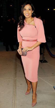 Hot! or Hmm...: Rosario Dawsons iTrance/i New York Premiere Bottega Veneta Pre Fall 2013 Pink Front Zip Dress
