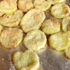 """Oven """"fried"""" squash.  Spray a gallon sized plastic bag with cooking spray. Put in sliced squash (I used half a bag of frozen squash) and spray with cooking spray. Add 2 cups of yellow cornmeal and shake well. Sift squash out of bag using a fork, and place on an aluminum foil pan also sprayed with cooking oil. Spray squash on pan again with cooking spray, and cook at 450 degrees for about twenty minutes. Sprinkle with salt and serve.  Awesome recipe for fried flavor without the fat!"""