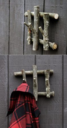"this simple coat hanger from recycled wood and add a dose of character to your otherwise ""meh"" foyer.Build this simple coat hanger from recycled wood and add a dose of character to your otherwise ""meh"" foyer. Weekend Projects, Recycled Wood, Recycled Decor, Tree Branches, Tree Stumps, Rustic Decor, Rustic Room, Woodland Decor, Western Decor"