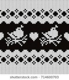 Knitted seamless border birds Fair Isle Knitting, Knitting Socks, Baby Knitting, Knitted Hats, Bead Loom Patterns, Knitting Patterns, Crochet Patterns, Yarn Projects, Loom Beading