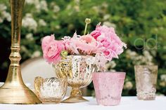 mixing mercury glass in tones of blush and gold for votives and small arrangements