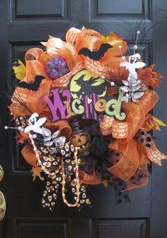 Halloween Wreath Blinking Lights Fall Wreath Autumn by FunFlorals