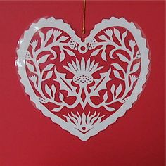 Thistle - Hand cut hanging kirigami heart