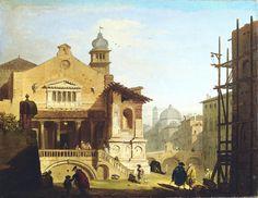 Giovanni Migliara - 1815-1820 - Chiesa veneta con macchiette settecentesche - Paesaggi e vedute - Accademia Carrara di Bergamo Pinacoteca
