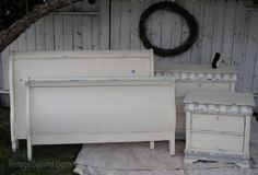 Custom bedroom set with sleigh bed painted in Annie Sloan Chalk Paint Old White and Paris Grey, dark wax highlighted and distressed.