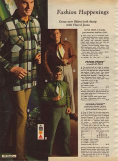 1969 men's fashion advert -flared trousers with front seams, and cravats! (Charles costume research)