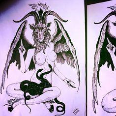 #Lucifer #lust #Diva #evil #goat #pentagram #Sexy #naked #Snakes #wings #Satanic #tattoo #tattooidea #bnw #blackandwhite #ink #Plctlay #plc