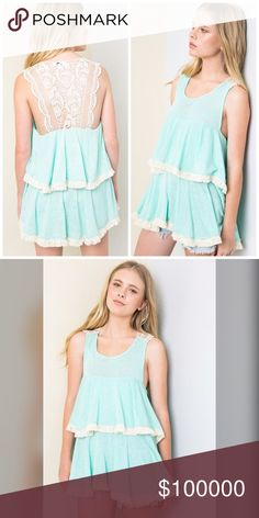 Gorgeous mint ruffle tank with open lace! Add a little extra to the ruffled tank with stunning intricate lace detail in this tunic tank in beautiful mint! Tops Tank Tops