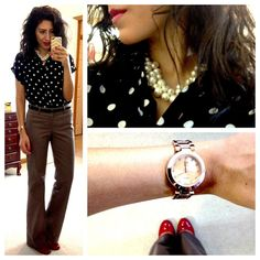 F21 polka dot top, Banana Republic pants, F21 pearl necklace, Target Mossimo Pearce Pumps (in red), NY&CO watch