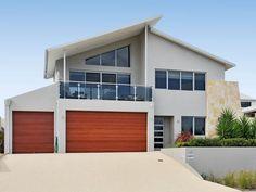 Concrete modern house exterior with balcony & landscaped garden - House Facade photo 104491
