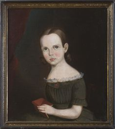 'Young girl in a moss green dress holding a red book', attributed to Sturtevant Hamblin (active 1837-56), American (?), ca 1840. Northeast Auctions