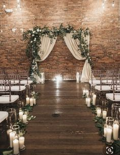 A beautiful, romantic-meets-industrial wedding ceremony space perfect for a ceremony! The Effective Pictures We Offer You About wedding ceremony decorations lights A qual Indoor Wedding Ceremonies, Wedding Altars, Wedding Ceremony Decorations, Rustic Wedding, Industrial Wedding Decor, Indoor Ceremony, Wedding Ceremony Candles, Indoor Wedding Arches, Cozy Wedding