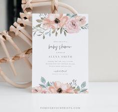 Baby Shower Invitation Girl Floral Baby Shower Invites TRY   Etsy