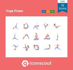 Yoga Poses Free Icon Pack - 15 Flat Icons Free Icon Packs, Flat Icons, Png Icons, Icon Collection, Icon Font, Fashion Flats, Yoga Poses, Gym Workouts, Icon Design