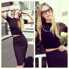 black crop top & skirt