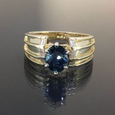 Estate 14k Yellow gold Natural Blue Cap Tourmaline Diamond Solitaire ring 1.20ct by crystalanchor on Etsy