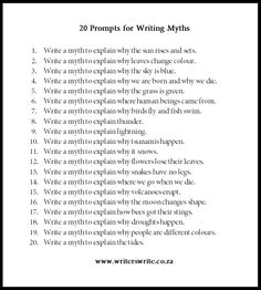 Useful writing exercises. This may also help with creating the mythology and spirituality/religion of my fictional worlds. Writers Write is your one-stop writing resource. We've put together a list of 20 myths to use as writing prompts. Picture Writing Prompts, Writing Prompts For Writers, Creative Writing Prompts, Book Writing Tips, Writing Words, Writing Help, Writers Write, Book Prompts, Poetry Prompts