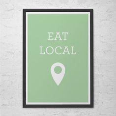 "KITCHEN WALL ART - Minimalist Kitchen Poster Giclee Art Print Ikea Ribba ""Eat Local"" Kitchen Poster Ecological Poster Vegan Poster"