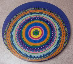 Lazy Susan Hand Painted 18 Diameter Offset Mandala by LisaFrick, $130.00