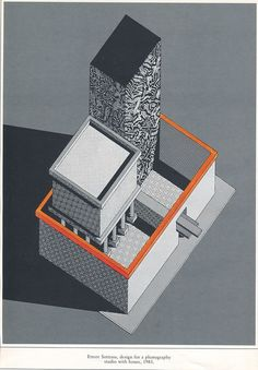 Ettore Sottsass, design for a photography studio with a house, 1983.