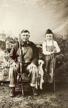 +~+~ Vintage Photograph ~+~+  Boy with his Pa and faithful dog
