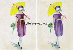 R66 LOVELY ART DECO LADY swap playing cards MINT COND holding parasol LINEN