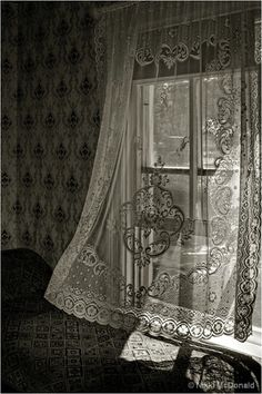 My favorite thing about Spring and Summer, opening the window and the lace/sheer curtains blowing in.