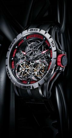 Excalibur Spider Skeleton Double Flying Tourbillon Watch