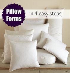Tutorial: DIY pillow forms in just 4 steps- with pillow sizing charts- square, round, rectangle, neck roll pillows- all you need is polyfil and some white/light cotton- this person used a serger- but could use a straight stitch and turn the pillows instead...