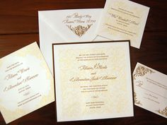 I like that with the belly band you can still open the pocketfold w victorian inspired letterpress wedding invitation with damask pattern printed in the background weve stopboris Choice Image