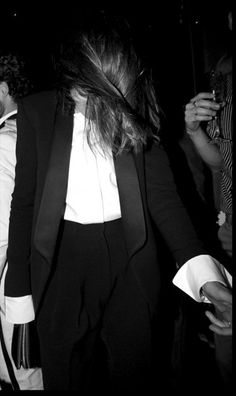 Phoebe Philo in Celine tuxedo, featured on http://www.anothermag.com/