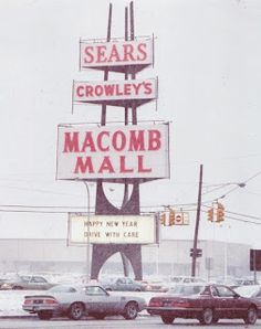 Vintage Sears, Macomb Mall (Roseville, Michigan) pylon sign. Mid-century.
