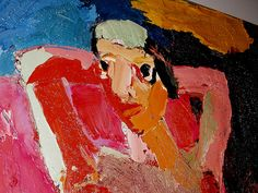 "Joan Brown, ""Girl in Chair,"" 1962, oil on canvas, 60"" x 48"""