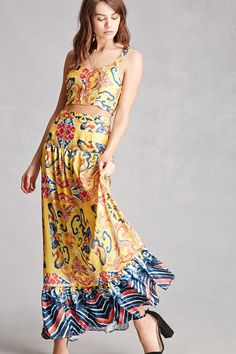 Abstract Crop Top and Skirt Set