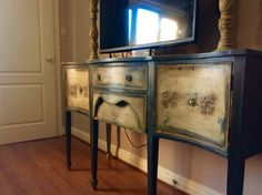 My sideboard I painted in graphite and old Ochra