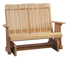 Amish Cypress Outdoor Highback Glider Get comfy with a new glider to rock and sway in. Made with solid cypress wood that's light colored and naturally resists decay. A gorgeous seat for outside. Outdoor Wood Furniture, Amish Furniture, Cheap Furniture, Furniture Making, Outdoor Chairs, Furniture Stores, Mission Style Furniture, Cypress Wood, Wood
