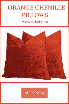 Handmade pillow covers made from luxury chenille fabrics. Handmade Cushion Covers, Handmade Cushions, Decorative Pillow Covers, Throw Pillow Covers, Orange Throw Pillows, Velvet Pillows, Chenille Fabric, How To Make Pillows, Lumbar Pillow