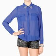 Jewel Tip Collar Blouse