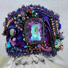 MAJESTIC : Shibori Silk Ribbon Bead Embroidered Cuff