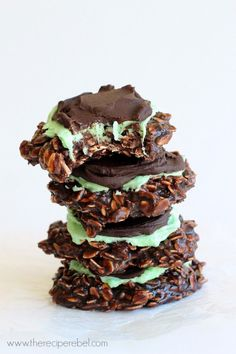 "Fudgy Mint Chocolate No-Bake Cookies -- <a href=""http://www.thereciperebel.com"" rel=""nofollow"" target=""_blank"">www.thereciperebe...</a>"