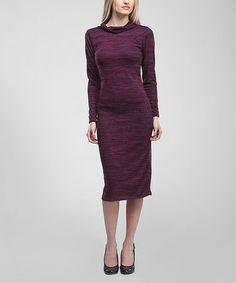 Look at this #zulilyfind! Burgundy Space-Dye Cowl Neck Dress #zulilyfinds