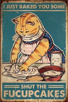 Cat Kittzy Biscuits We knead em You need em vintage poster - Tagotee Crazy Cat Lady, Crazy Cats, Cute Cats, Funny Cats, Funny Memes, Hilarious, Cat Posters, Dibujos Cute, Art And Illustration