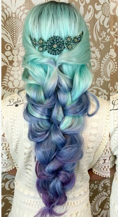 Blue purple ombre dyed hair color...