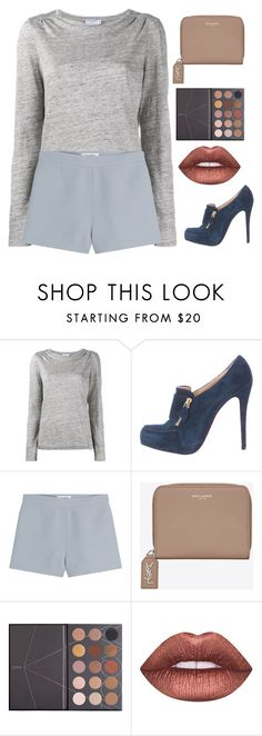 """Untitled #2358"" by maddie-xxx-1 ❤ liked on Polyvore featuring Frame, Christian Louboutin, Valentino, Yves Saint Laurent, ZOEVA and Lime Crime"