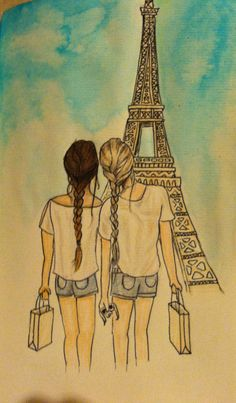 BFFs in Paris! Reminds me of myself and my BFF (if we ever went to Paris). Best Friend Drawings, Bff Drawings, Art Drawings Sketches, Drawing Of Best Friends, Best Friend Sketches, Pencil Drawings, Easy Drawings, Bff Pics, Friend Pictures