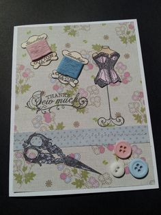 Thank you card using the Sew Pretty stamp set and paper from Cardmaking and Papercraft magazine.